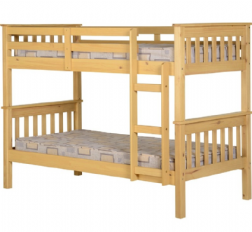Neptune Solid Wood Bunk Bed - Natural (Splits into 2 single bedframes)
